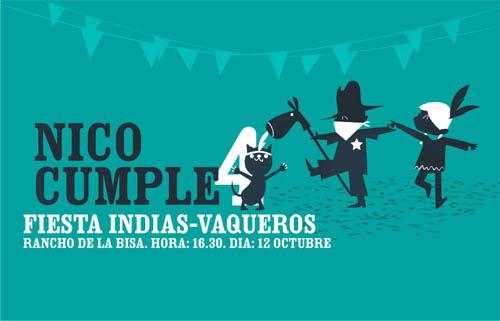 invitacion laszlito Fiesta infantil de cumpleaños indias y vaqueros