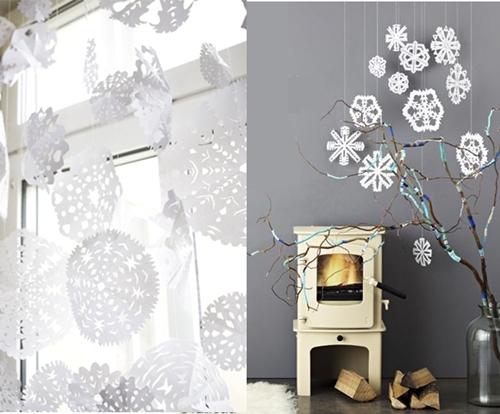 copitos papel4 Como hacer copitos de nieve de papel